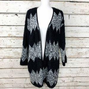 XL Chevron Black & Grey Open Long Cardigan Sweater